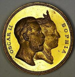 1872-1897 Sweden Jubilee Medal 25 Years King Oscar II and Queen Sophia