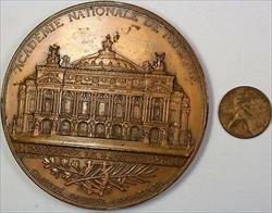 1875 Academie Nationale De Musique Large Commemorative French Bronze Medal