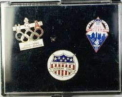 1896-1996 Olympics Centennial 100 Years USA 3 UNC Pin Set with Box and COA