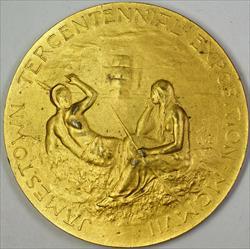 1907 Jamestown Large Tercentennial Exposition Gilt Bronze Medal Daniel Freeman