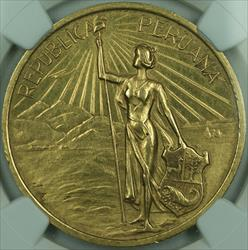 1921 Peru Gold Medal Independence Centennial from Spain NGC