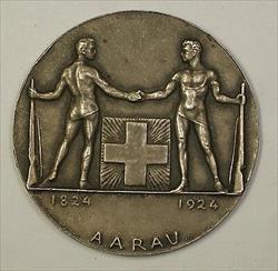 1924 Aarau Switzerland Silver Swiss Shooting Medal R45