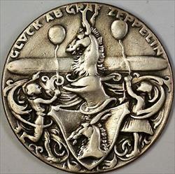 1928 July 6th Glvck Ab Graf Zepplin German Silver Commemorative Medal
