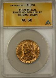 1929 Lights Golden Jubilee Thomas Edison Medal ANACS  Better Coin (GH)