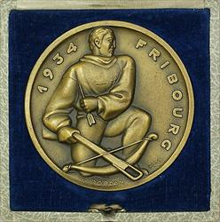 1934 Fribourg Switzerland Swiss Shooting Medal R434 in Original Case