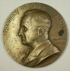1949 Harry S. Truman Inaugural Bronze Medal 8 Oz
