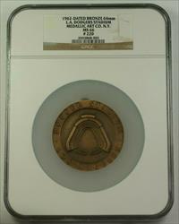 1962 Large Bronze Medal 64mm LA Dodgers Stadium 1st Season NGC  #220
