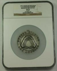1962 Large Silver Medal 64mm 1st Season at LA Dodgers Stadium NGC  #627