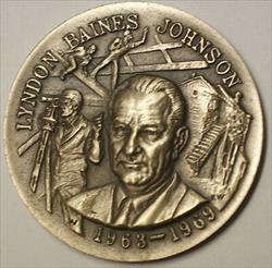 1963- 1969 Lyndon Baines Johnson High Relief Silver Medal 34 Grams
