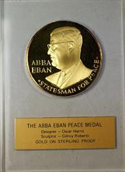 Abba Eban Israel Silver Medal Statesman Gold on Sterling Silver Proof Gilroy