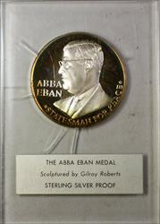Abba Eban Israel Silver Medal Statesman Sterling Silver Proof Gilroy Roberts