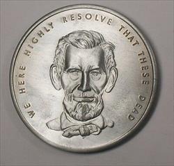 Abraham Lincoln Presidential Gettysburg Address Commemorative Large Medal