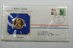 Andrew Jackson Presidential Medal 24 KT Electroplate Gold & Stamps Cover