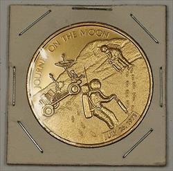 Apollo 15 (XV) Gold Colored Aluminum Token (Journey to the Moon) Cardboard 2x2