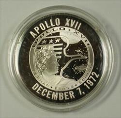 Apollo XVII 17 Sterling Silver Proof Medal .925 Fine
