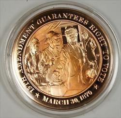 Bronze Proof Medal 15th Amendment Gurantees Right to Vote March 30 1870