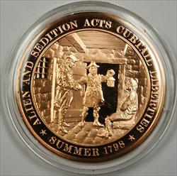 Bronze Proof Medal Alien and Sedition Acts Curtail Liberties Summer 1798