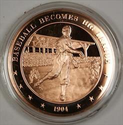 Bronze Proof Medal Baseball Becomes Big League 1904