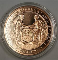 Bronze Proof Medal Begininning of The American Labor Movement  Fall 1827