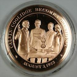 Bronze Proof Medal Calvin Coolidge Becomes President August 3 1923