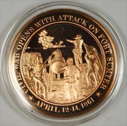Bronze Proof Medal Civil War opens with Attack on Fort Sumter April 12-14 1861