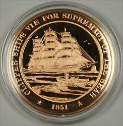 Bronze Proof Medal Clipper Ships Vie for Supremacy of the Seas 1851