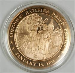 Bronze Proof Medal Congress Ratifies Peace Treaty January 14 1784