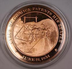 Bronze Proof Medal Cyrus Mc Cormick Patents His Reaper June 21 1834
