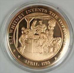 Bronze Proof Medal Eli Whitney Invents the Cotton Gin April 1793