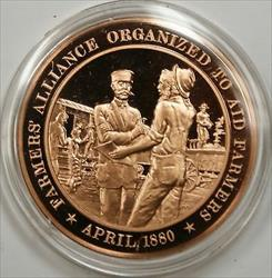 Bronze Proof Medal Farmers Alliance Organized to Aid Farmers April 1880