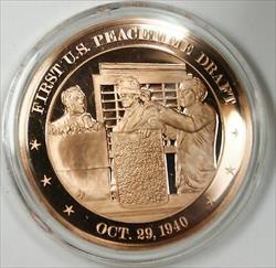 Bronze Proof Medal First US Peacetime Draft October 29 1940
