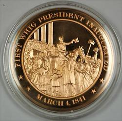 Bronze Proof Medal First Whig President Inaugurated March 4 1841