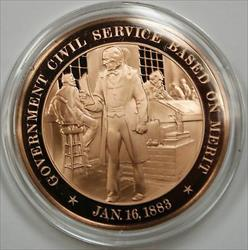 Bronze Proof Medal Government Civil Service Based on Merit January 16 1883