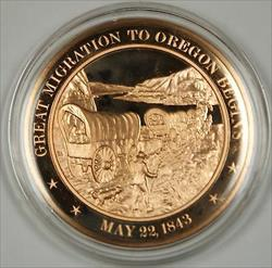 Bronze Proof Medal Great Migration to Oregon Begins May 22 1843