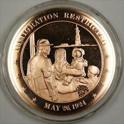 Bronze Proof Medal Immigration Restricted May 26 1924