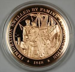Bronze Proof Medal Immigration Swelled by Famine and Revolution 1848