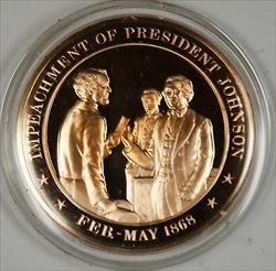 Bronze Proof Medal Impeachment of President Johnson Feb May 1868