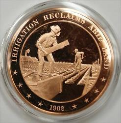 Bronze Proof Medal Irrigation Reclaims Arid Land 1902
