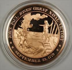 Bronze Proof Medal John Paul Jones Great Naval Victory September 23 1779