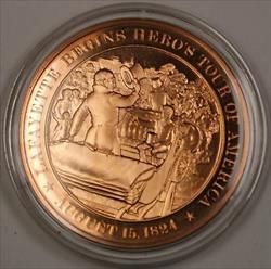 Bronze Proof Medal Lafayette Begins Hero's Tour of America August 15 1824