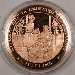 Bronze Proof Medal Medicare Aids in Reducing Medical Costs July 1 1966