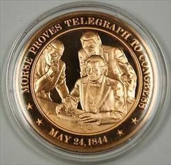 Bronze Proof Medal Morse Proves Telegraph to Congress May 24 1844
