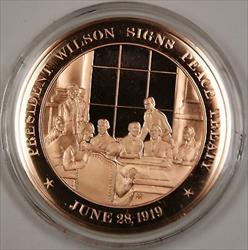 Bronze Proof Medal President Wilson Signs Peace Treaty June 28 1919