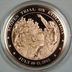 Bronze Proof Medal Scopes Trial on Evolution July 10 21 1925