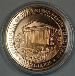 Bronze Proof Medal Second Bank of the United States Chartered April 10 1816