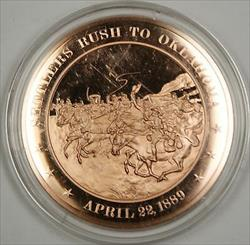 Bronze Proof Medal Settlers Rush to Oklahoma April 22 1889