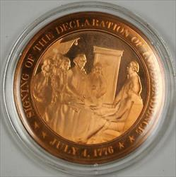 Bronze Proof Medal Signing of the Declaration of Independence July 4 1776