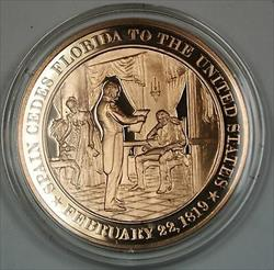 Bronze Proof Medal Spain Cedes Florida to the United States February 22 1819