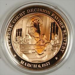 Bronze Proof Medal Supreme Court Decision Favors Slavery March 6 1857