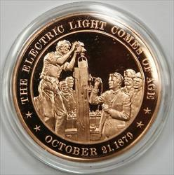 Bronze Proof Medal The Electric Light Comes of Age October 21 1879